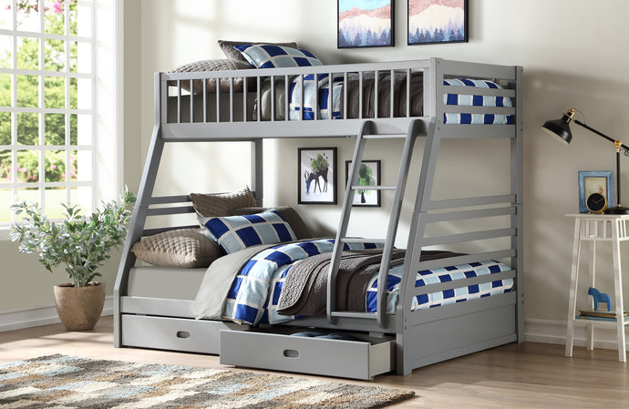 Acme Jason Gray Wood Finish Twin Over Twin Bunk Bed