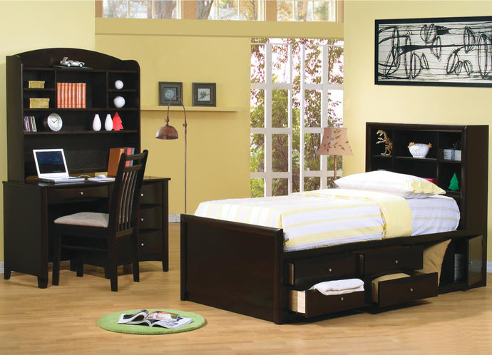Phoenix Cappuccino Full Bookcase Bedroom Set