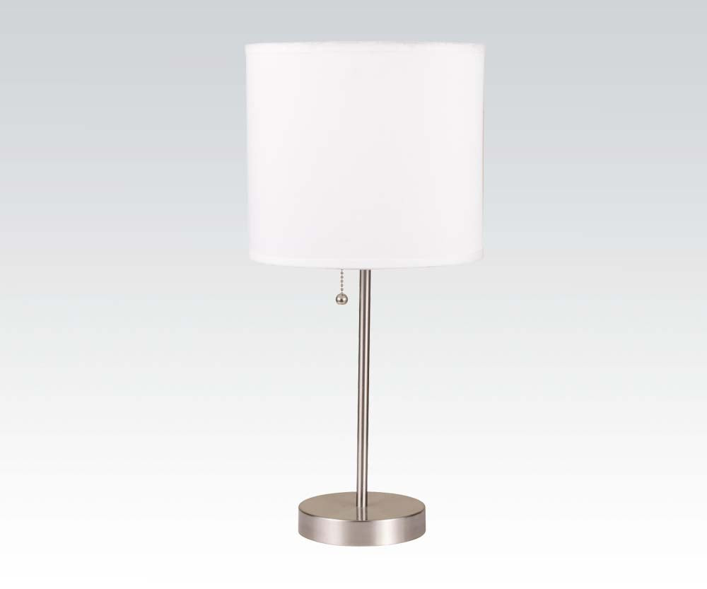 Acme Vassy Brush Silver White Shade Table Lamp