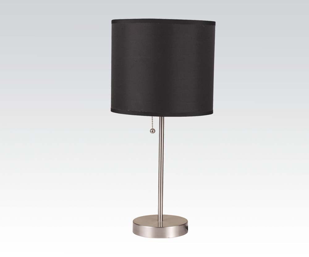 Acme Vassy Brush Silver Black Shade Table Lamp