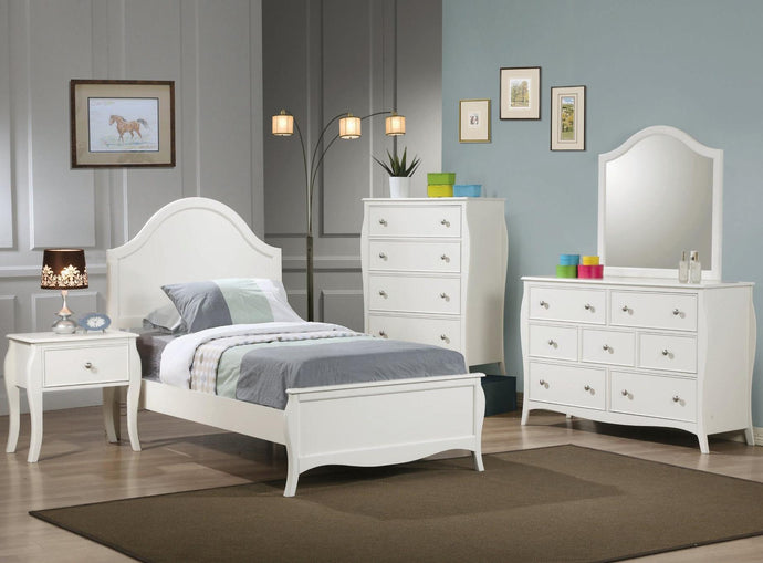 Homy Living Dominique White Wood Finish 4 Piece Twin Bedroom Set