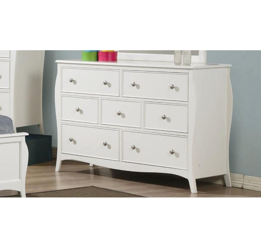 Homy Living Dominique White Wood Finish 7 Drawers Dresser