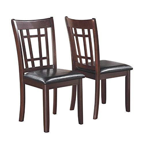 Coaster Espresso Padded Vinyl Seat Side Dining Chair Set of 2
