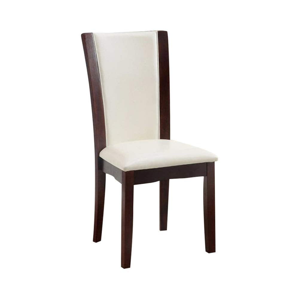 Furniture of America Manhattan I White Leather And Wood Finish 2 Piece Side Chair
