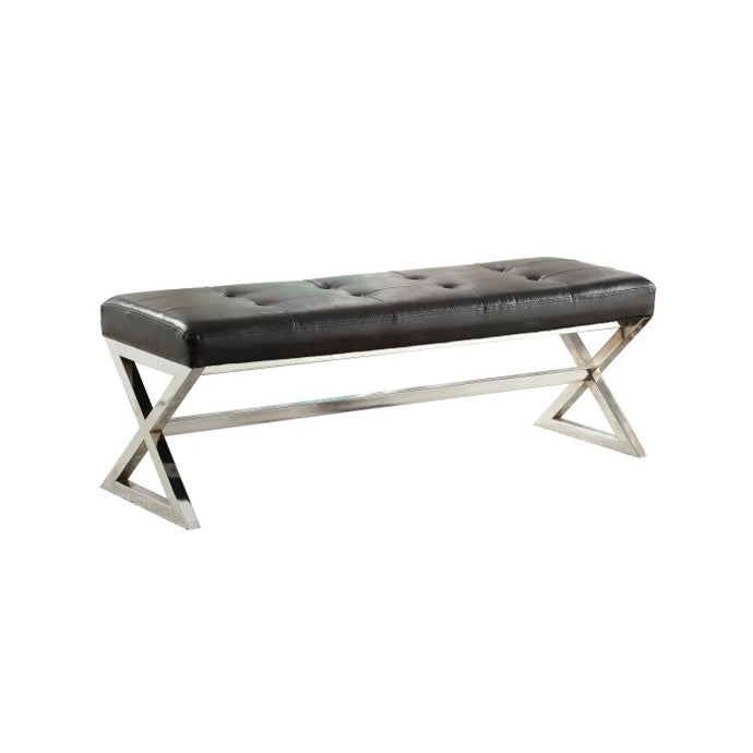 Homelegance Rory Black Bonded Leather And Metal Finish X-Base Bench