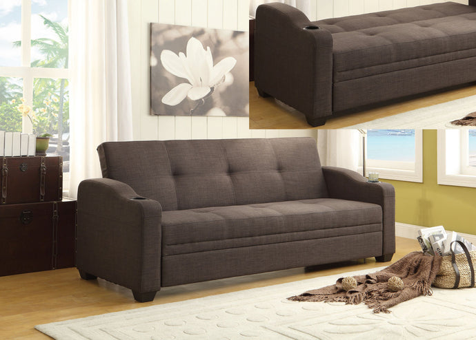 4829LN Casual Dark Grey Fabric Lounger Futon Sofa Bed Cup Holders