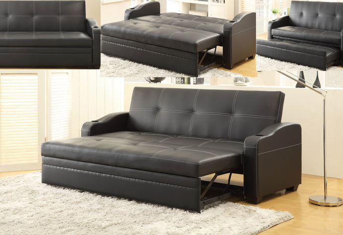 Modern Black Vinyl Adjust Lounger Sofa Bed Futon Trundle Cup Holder