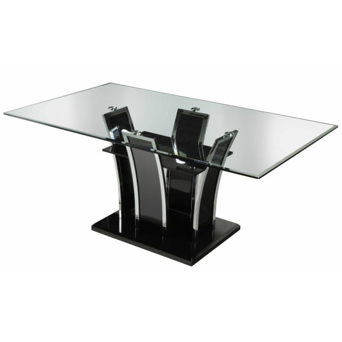 Furniture Of America Glenview Black High Gloss Glass Top Finish Dining Table