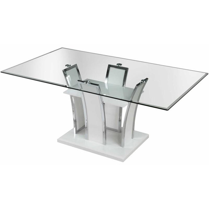 Furniture of America Glenview White High Gloss Glass Top Finish Dining Table