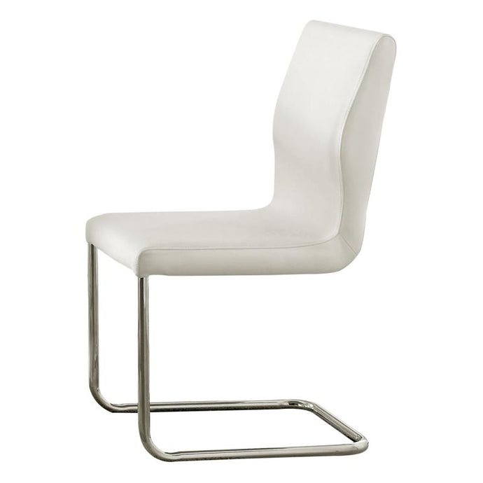 Furniture of America Lodia I Contemporary White Glass Top Side Chair Set of 2