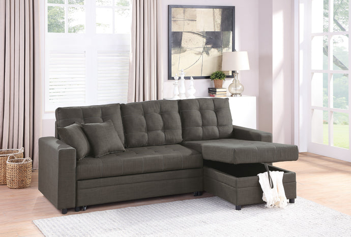 Poundex Ash Black Poly fiber And Wood Finish 2 Piece Sectional Sofa With Sleeper