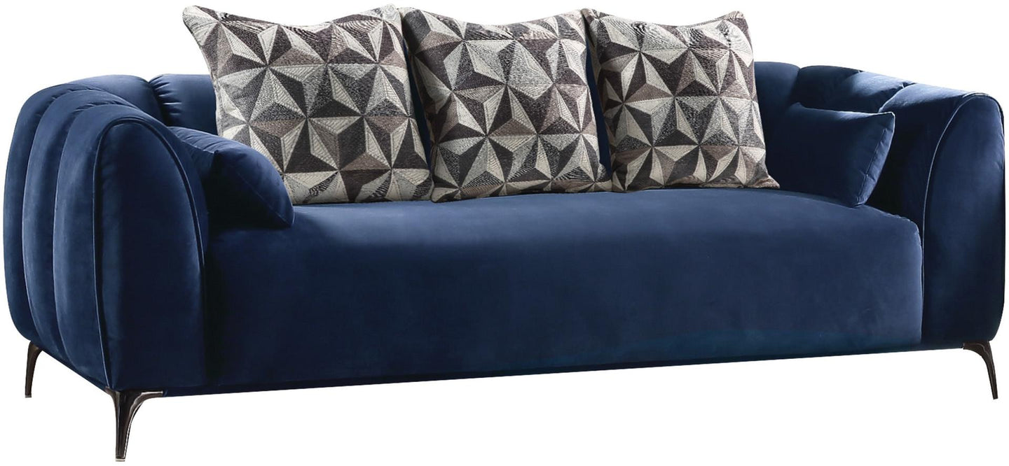 Acme 50435 Hellebore Blue Velvet Finish Contemporary Sofa