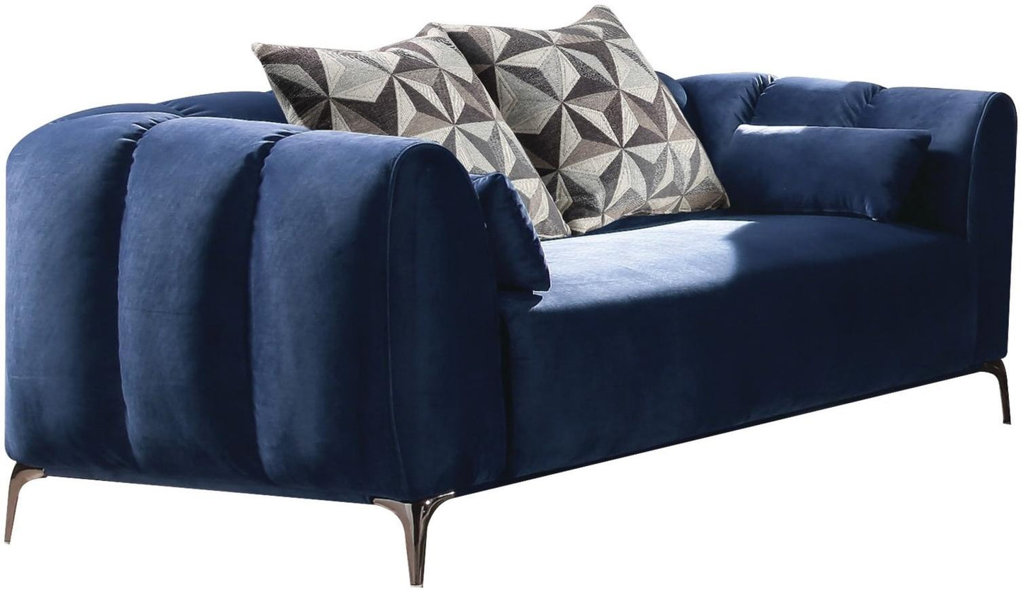 Acme 50436 Hellebore Blue Velvet Finish Contemporary Loveseat