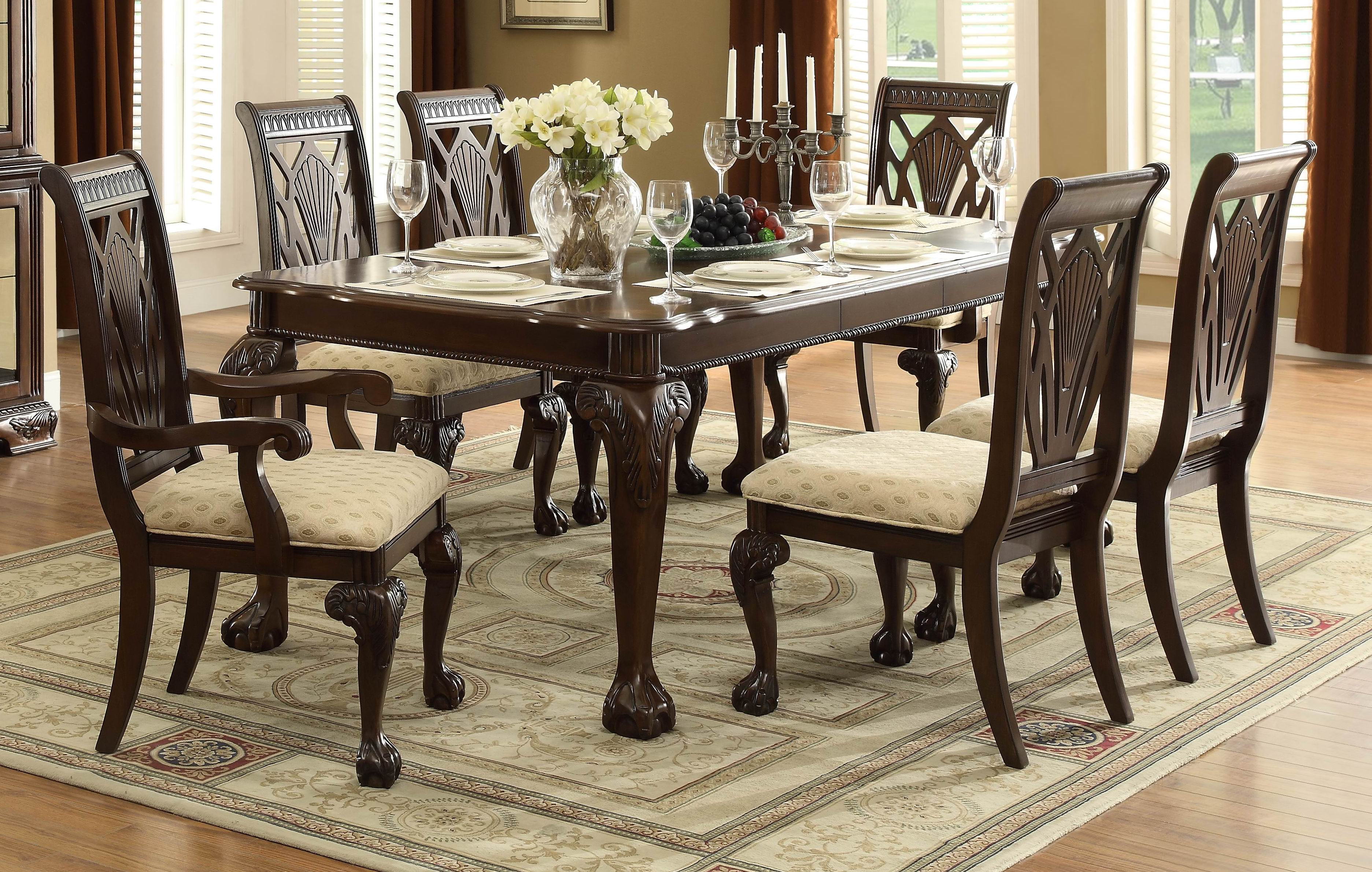 Awe Inspiring Norwich 5055 82 Traditional 7Pc Cherry Wood Leaf Dining Table Set Caraccident5 Cool Chair Designs And Ideas Caraccident5Info