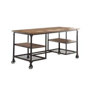Homelegance Millwood Ash Wood And Metal Finish Writing Desk