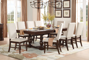 Homelegance Yates Dark Oak Wood Finish 9 Piece Dining Table Set