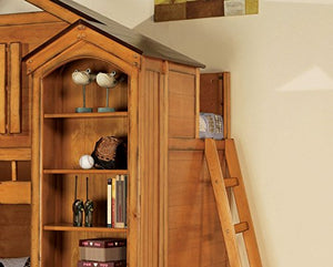 Acme Rustic Oak Tree House Twin Loft Bed with Desk