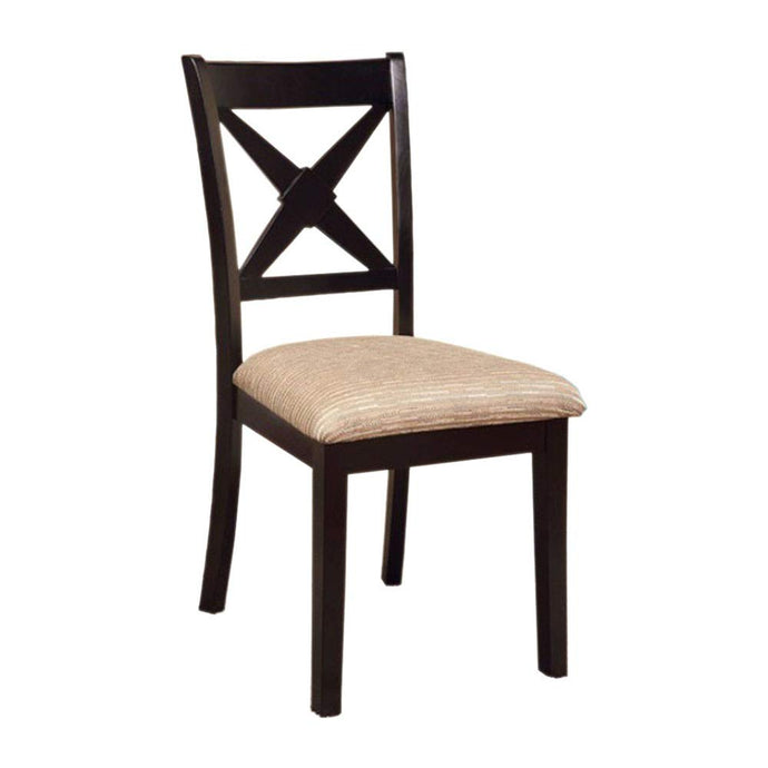 Liberta CM3776SC Transitional Dark Oak Black Side Chair Set of 2