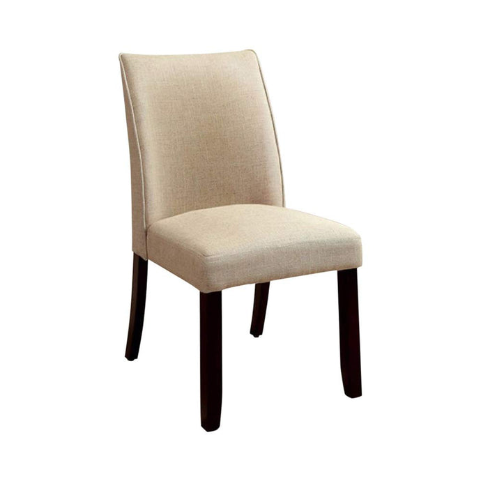 Furniture of America Cimma Espresso And Beige Wood Finish 2 Piece Side Chair