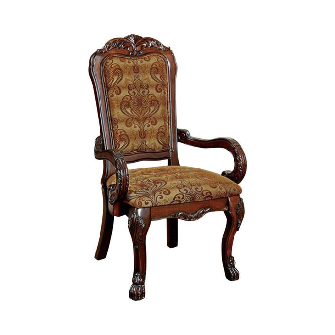 Furniture of America Medieve Traditional Cherry Arm Chair Set of 2