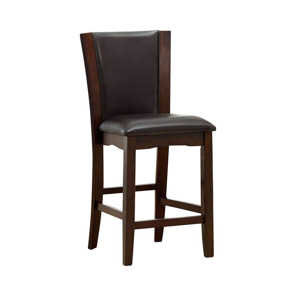 Furniture of America Manhattan III Dark Cherry Wood Finish 2 Piece Counter Height Side Chair