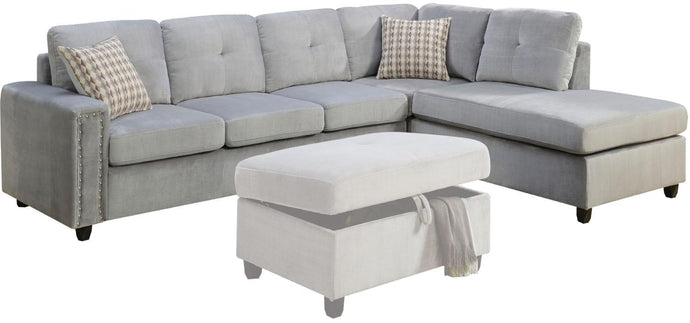 Acme 52710 Belville 2 Pieces Gray Reversible Sectional Sofa Set