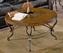 Load image into Gallery viewer, Homelegance Jenkins Warm Brown Wood And Metal Finish Round Coffee Table