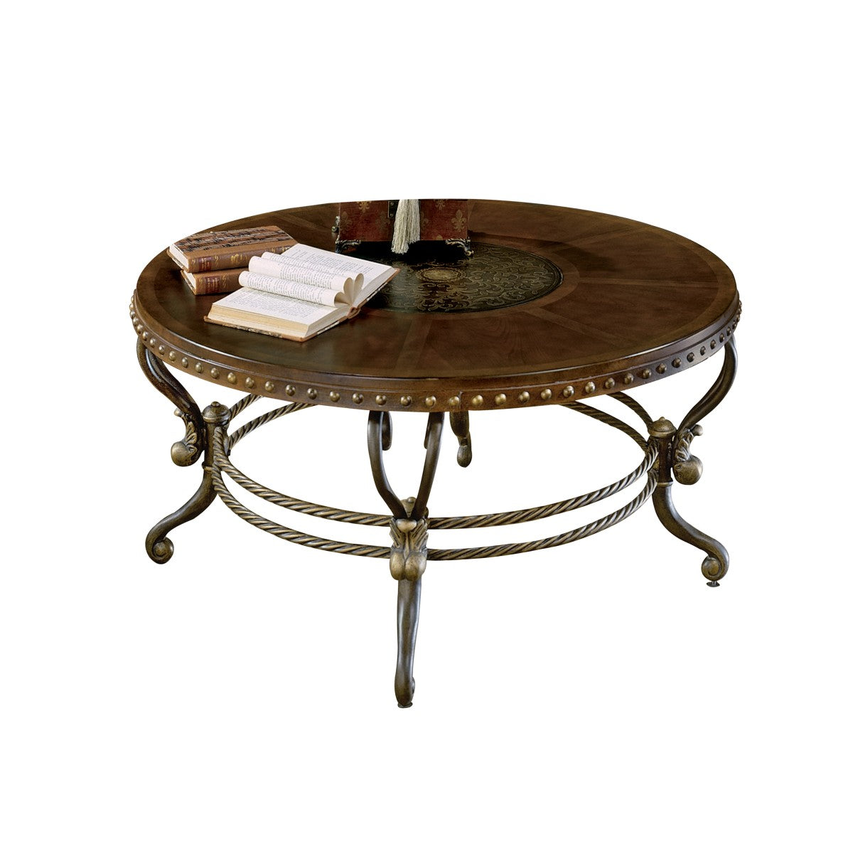 Homelegance Jenkins Warm Brown Wood And Metal Finish Round Coffee Table
