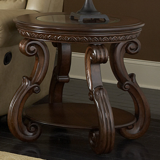Cavendish Traditional Cherry Wood Side End Table Glass Top