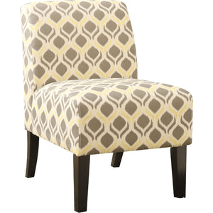 Acme 59440 Ollano Yellow Gray Fabric Finish Accent Chair