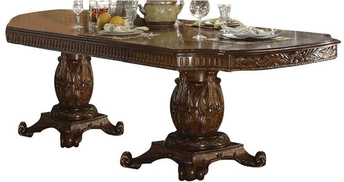 Acme 60000 Vendome Traditional Cherry Double Pedestal Dining Table