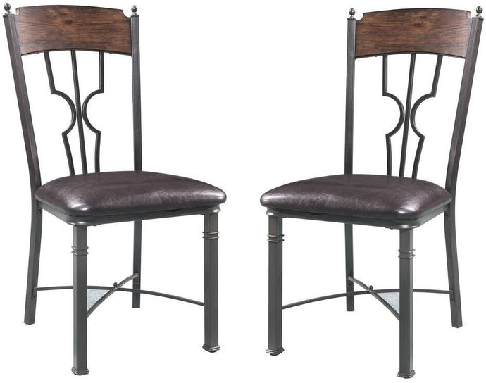 Acme Lynlee Oak And Bronze Metal Finish 2 Piece Dining Chair