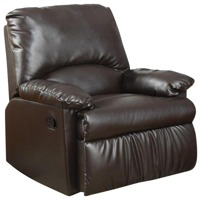 Brown Bonded Leather Finish Glider Recliner Chair