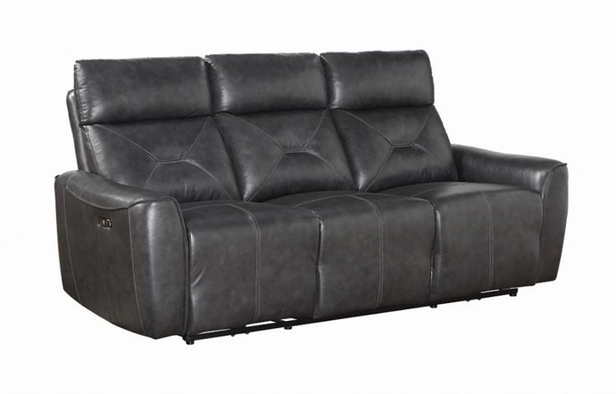 Coaster Jupiter Black Leather Finish Power Recliner Sofa