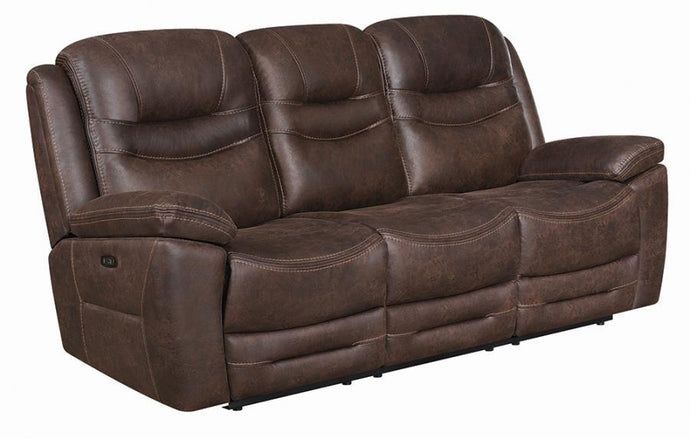 Coaster Hemer Chocolate Microfiber Finish Power Recliner Sofa