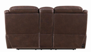 Coaster Hemer Chocolate Microfiber Finish Power Recliner Loveseat