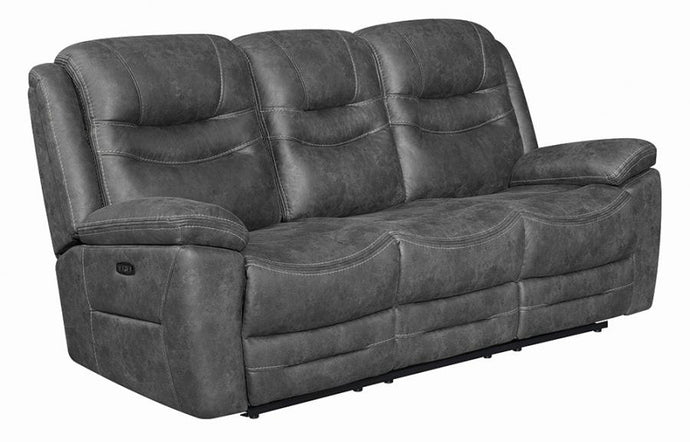 Coaster Hemer Dark Gray Microfiber Finish Power Recliner Sofa