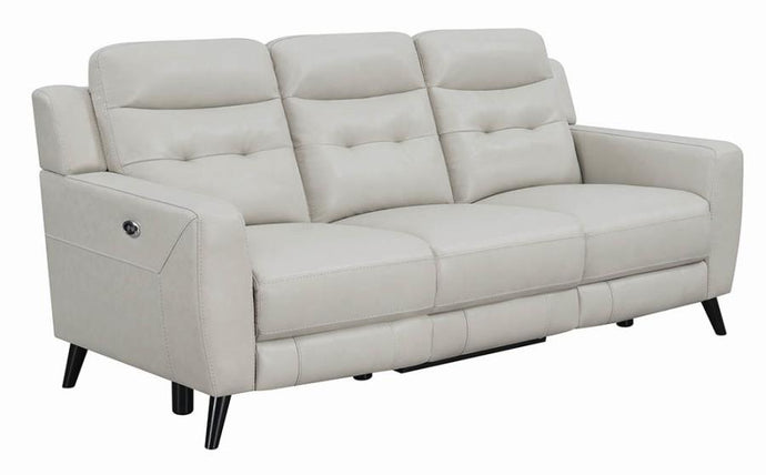 Coaster Lantana Beige Grain Leather Finish Power Recliner Sofa