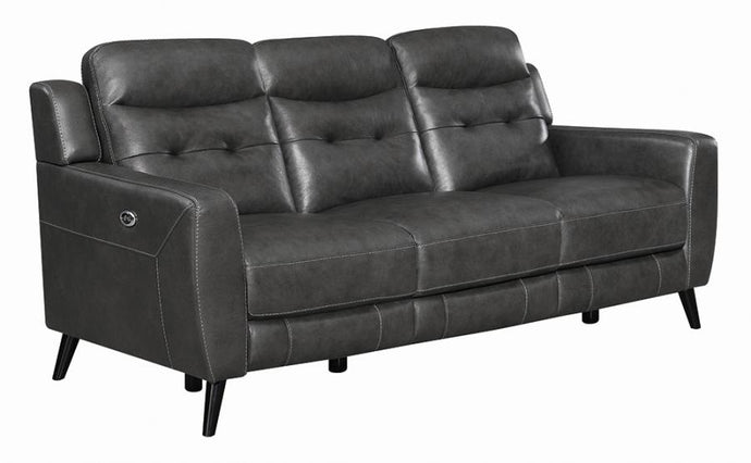 Coaster Lantana Black Grain Leather Finish Power Recliner Sofa