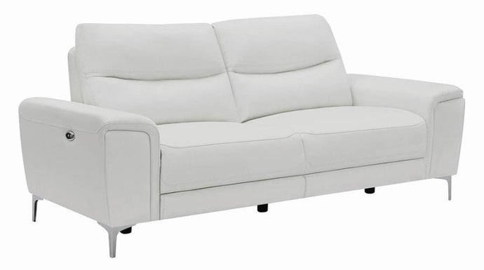 Coaster Largo White Grain Leather Finish Recliner Sofa