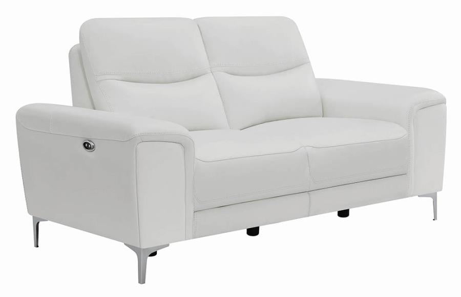 Swell Coaster Largo White Grain Leather Finish Recliner Loveseat Gmtry Best Dining Table And Chair Ideas Images Gmtryco