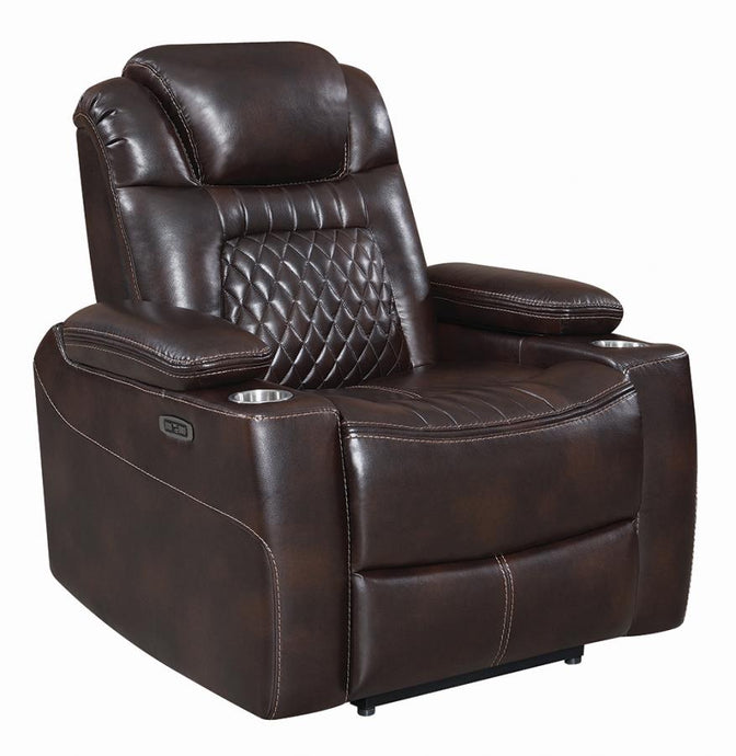Coaster Korbach Espresso Faux Leather Finish Power Recliner Chair