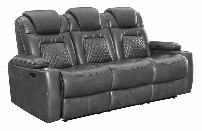 Coaster Korbach Charcoal Faux Leather Finish Power Recliner Sofa