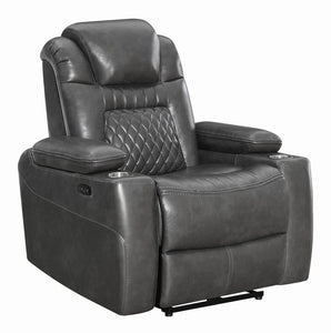 Admirable Coaster Korbach Charcoal Faux Leather Finish Power Recliner Chair Gmtry Best Dining Table And Chair Ideas Images Gmtryco