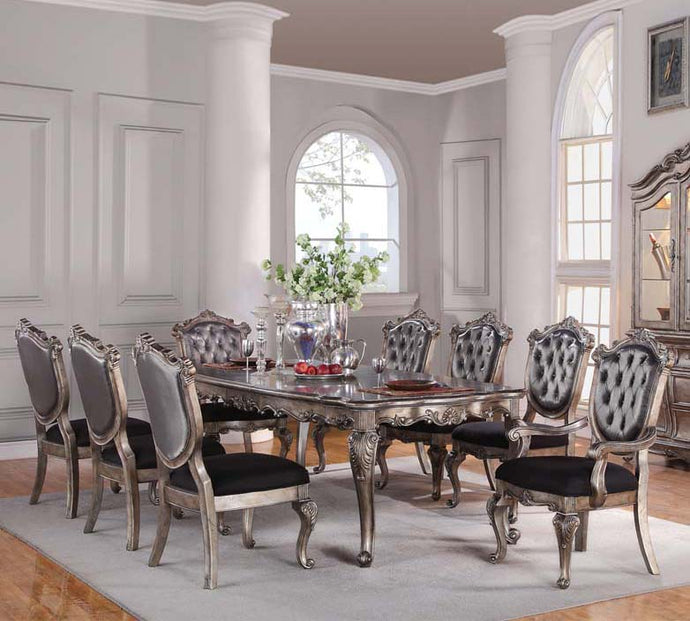 Acme 60540 Chantelle 9 Pieces Antique Platinum Dining Table Set Leaves