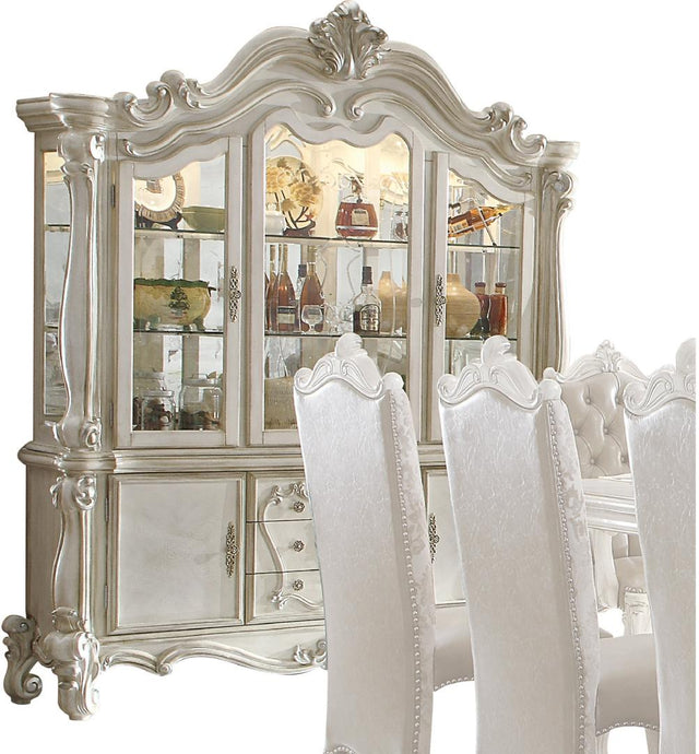 Acme 61134 Versailles Bone White Hutch Buffet Light China Cabinet