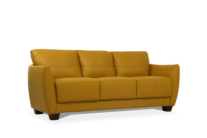 Acme Valeria Yellow Leather Finish Contemporary Sofa