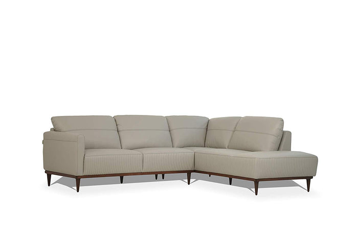 Acme Tampa Gray Leather Finish Left Facing Sectional Sofa