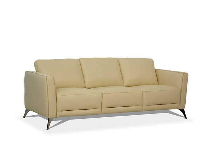 Acme Malaga Cream Leather Finish Vintage Sofa