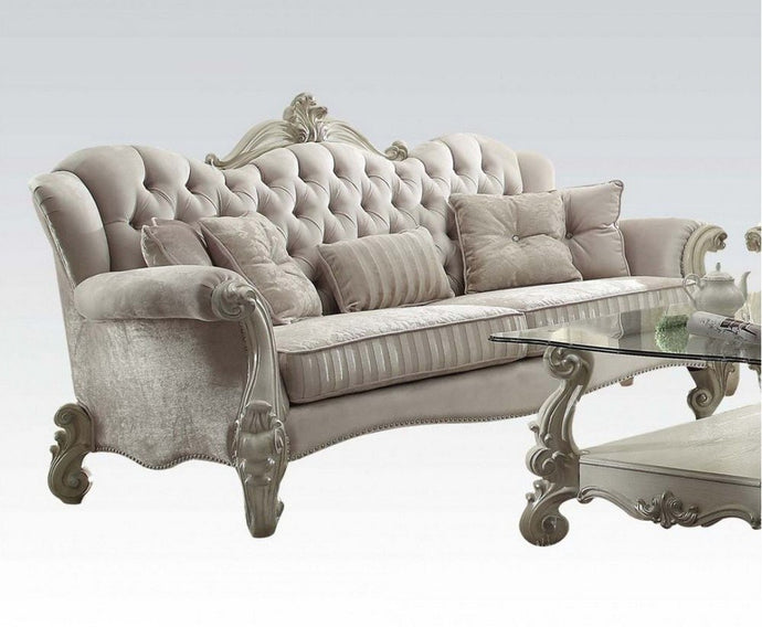Acme 52105 Versailles Ivory Velvet Bone White Sofa with 5 Pillows
